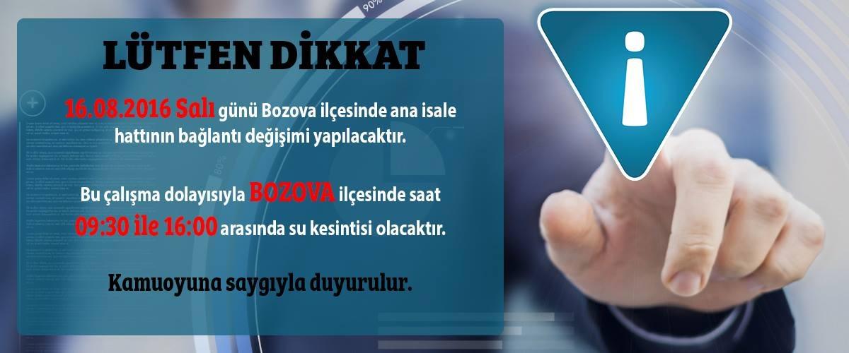 BOZOVADA SU KESİNTİSİ